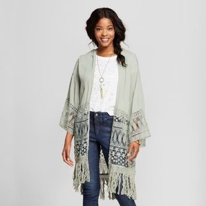 Xhilaration Green Lace Kimono with Tassles